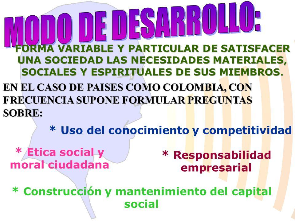 MODO DE DESARROLLO: * Uso del conocimiento y competitividad