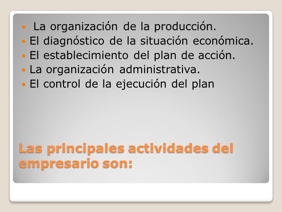 Las principales actividades del empresario son: