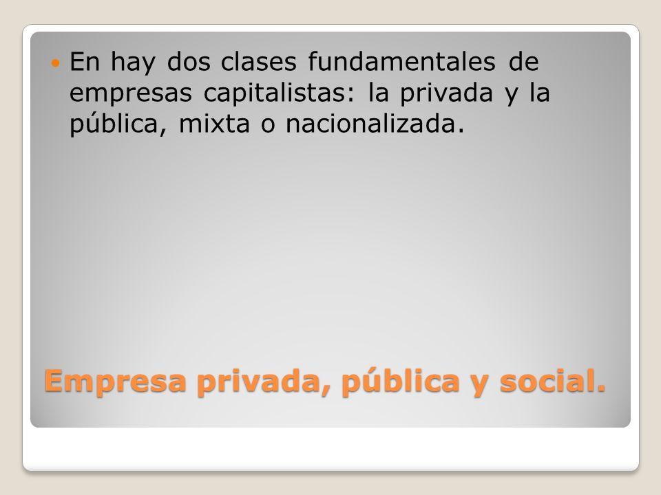 Empresa privada, pública y social.