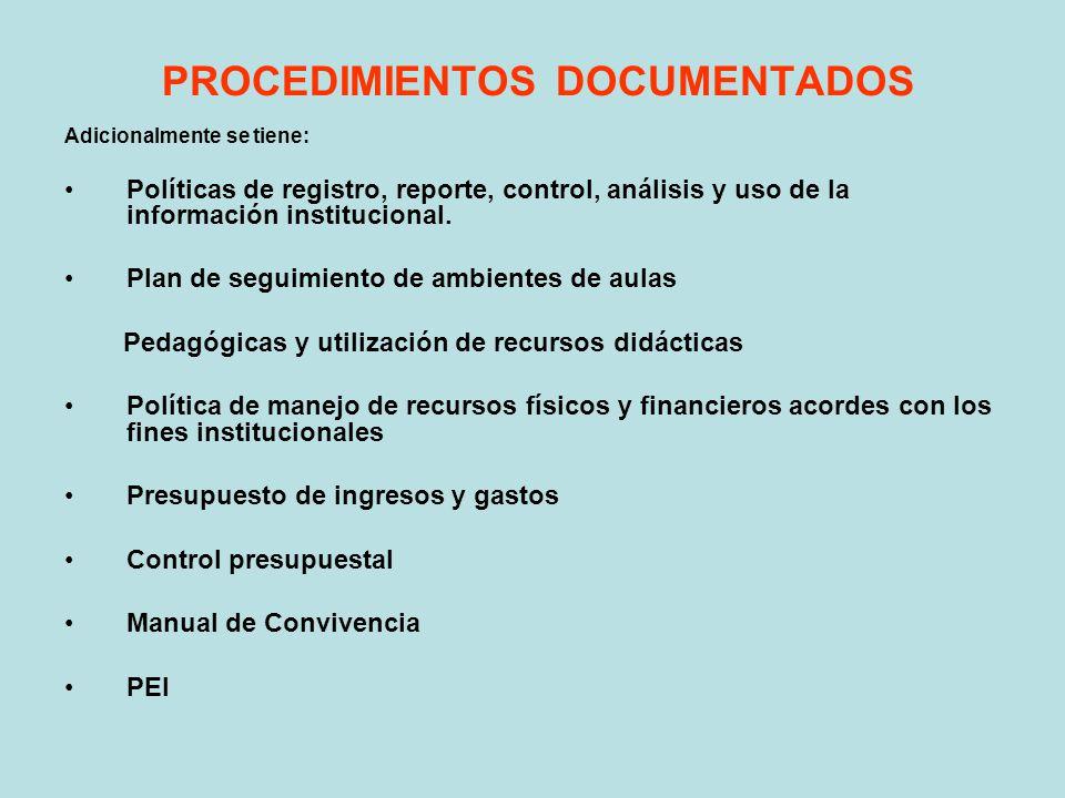 PROCEDIMIENTOS DOCUMENTADOS