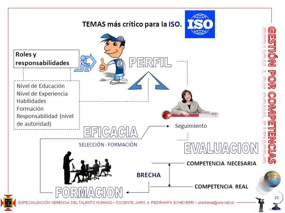 TEMAS más crítico para la ISO. COMPETENCIA NECESARIA
