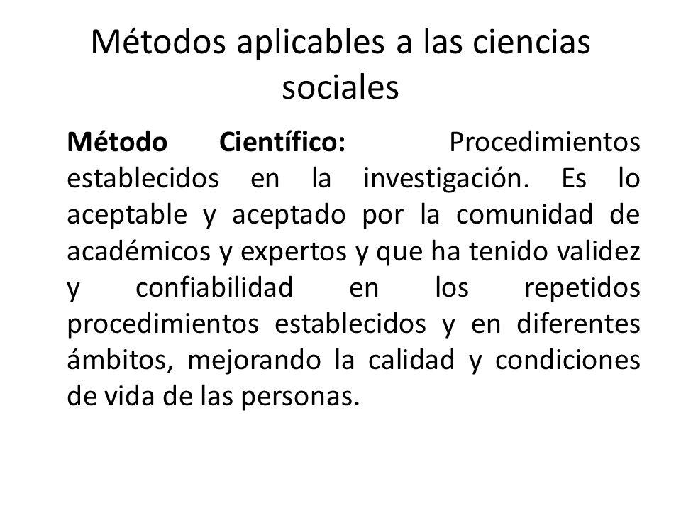 Métodos aplicables a las ciencias sociales