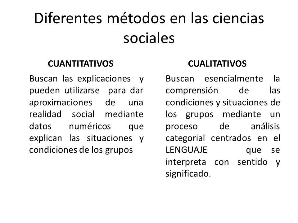Diferentes métodos en las ciencias sociales