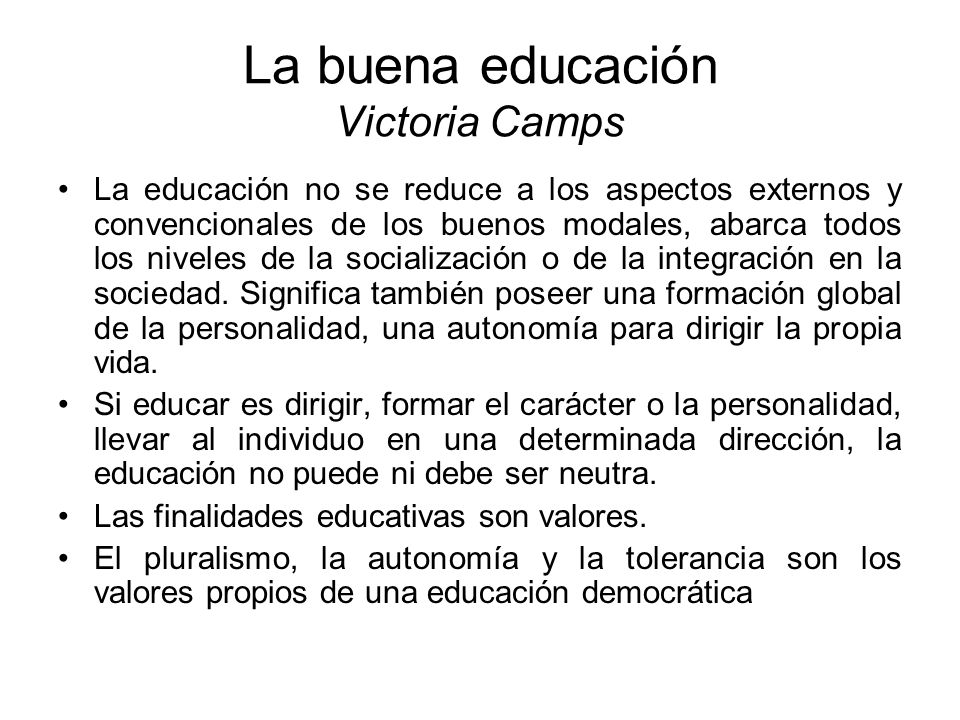 La buena educación Victoria Camps
