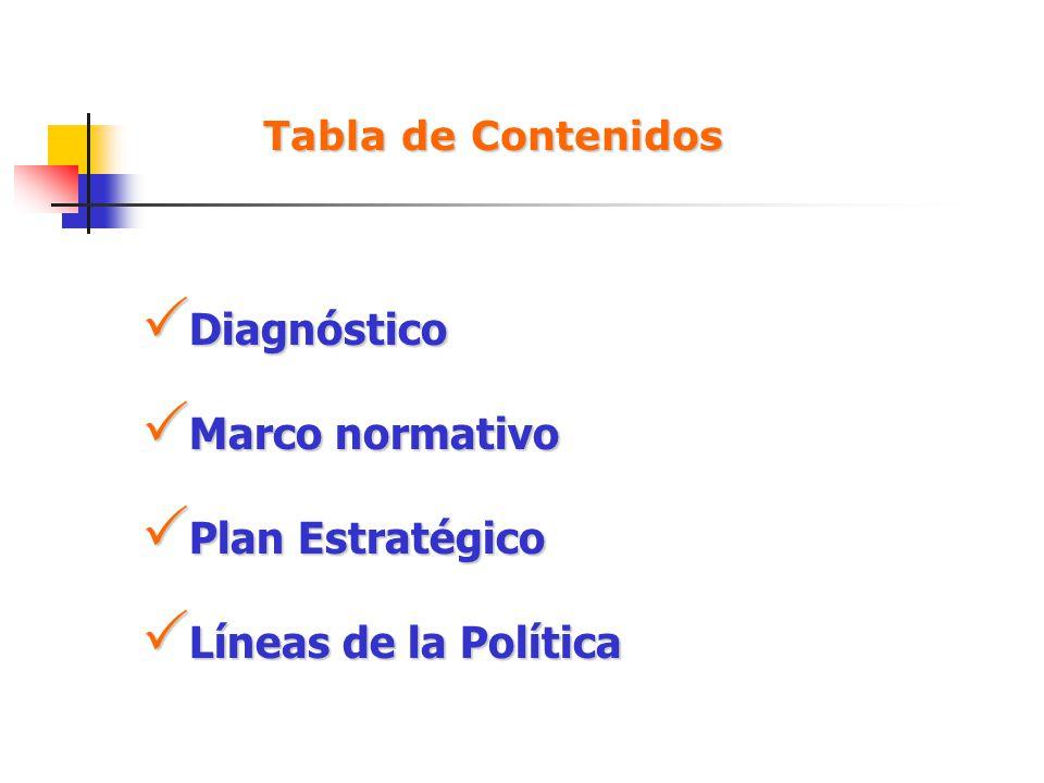 Diagnóstico Marco normativo Plan Estratégico Líneas de la Política