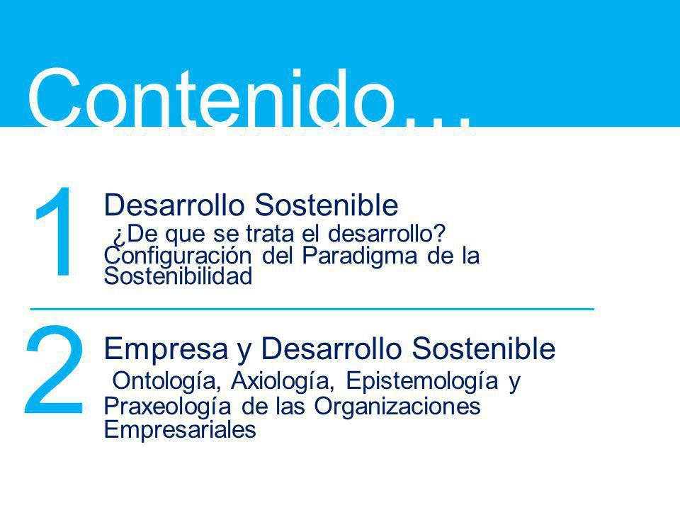 Contenido… 1. Desarrollo Sostenible ¿De que se trata el desarrollo Configuración del Paradigma de la Sostenibilidad