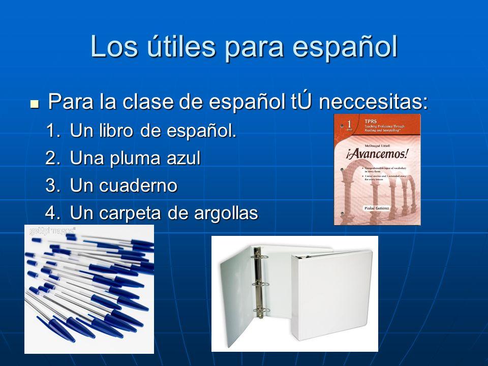 Los útiles para español