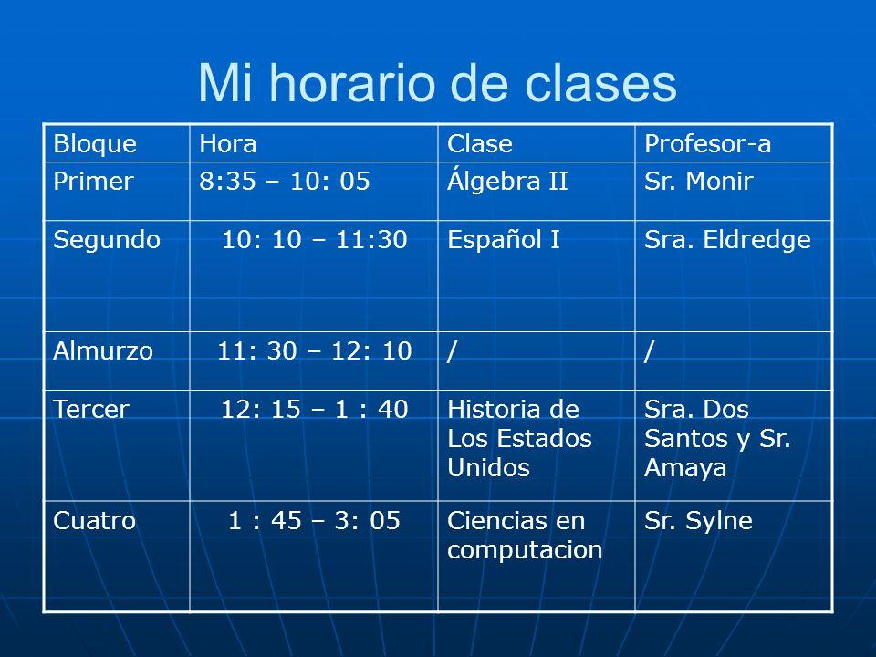 Mi horario de clases Bloque Hora Clase Profesor-a Primer 8:35 – 10: 05