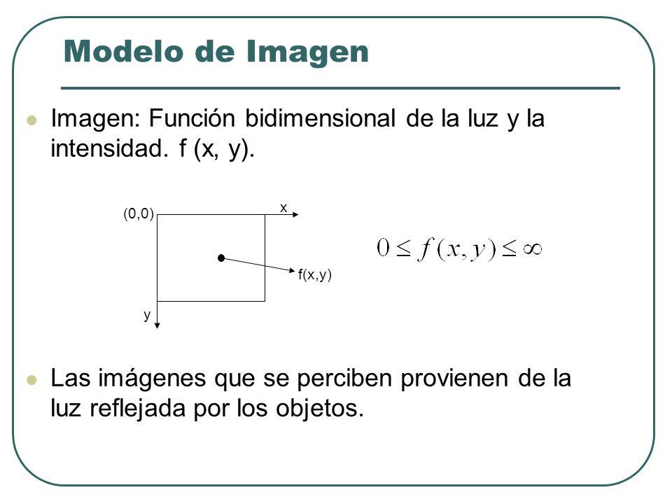 Modelo de Imagen Imagen: Función bidimensional de la luz y la intensidad. f (x, y).