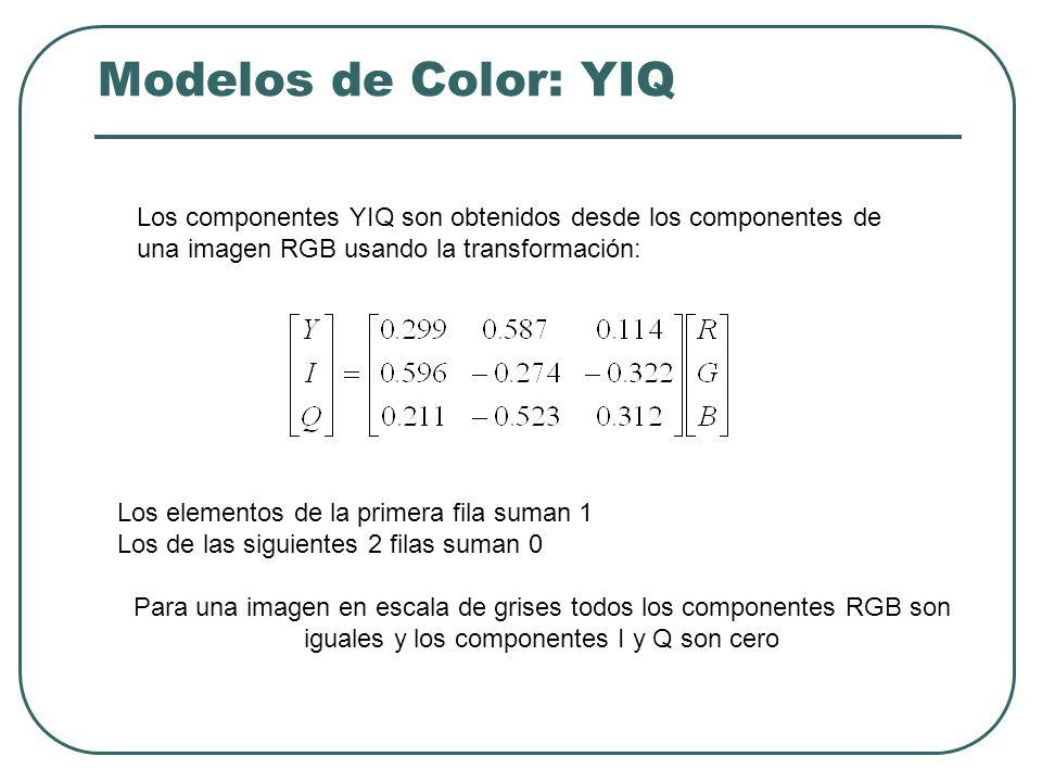 Modelos de Color: YIQ Los componentes YIQ son obtenidos desde los componentes de una imagen RGB usando la transformación: