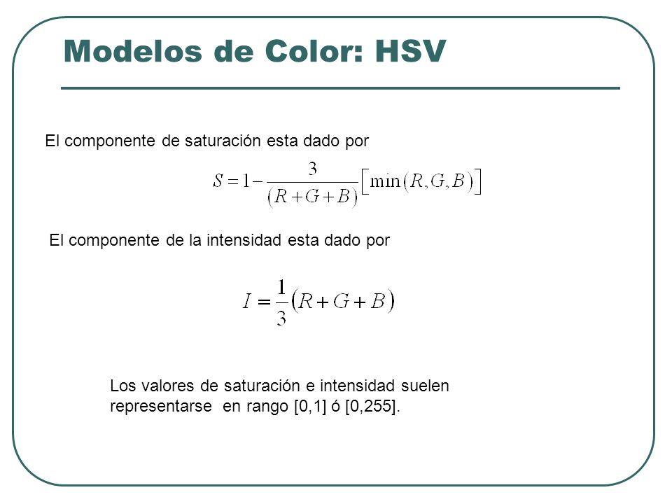 Modelos de Color: HSV El componente de saturación esta dado por