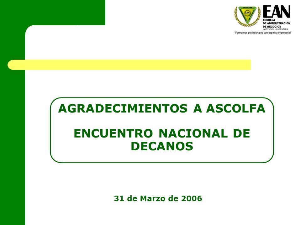 AGRADECIMIENTOS A ASCOLFA ENCUENTRO NACIONAL DE DECANOS