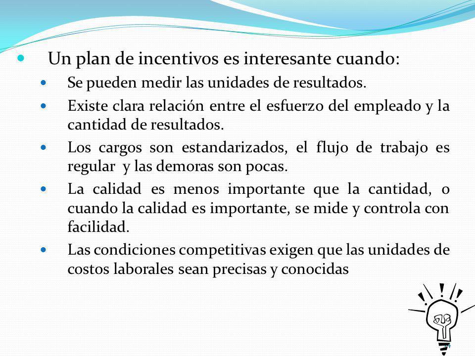 Un plan de incentivos es interesante cuando: