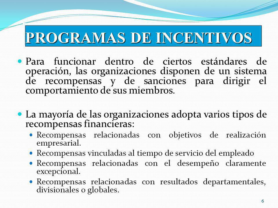 PROGRAMAS DE INCENTIVOS