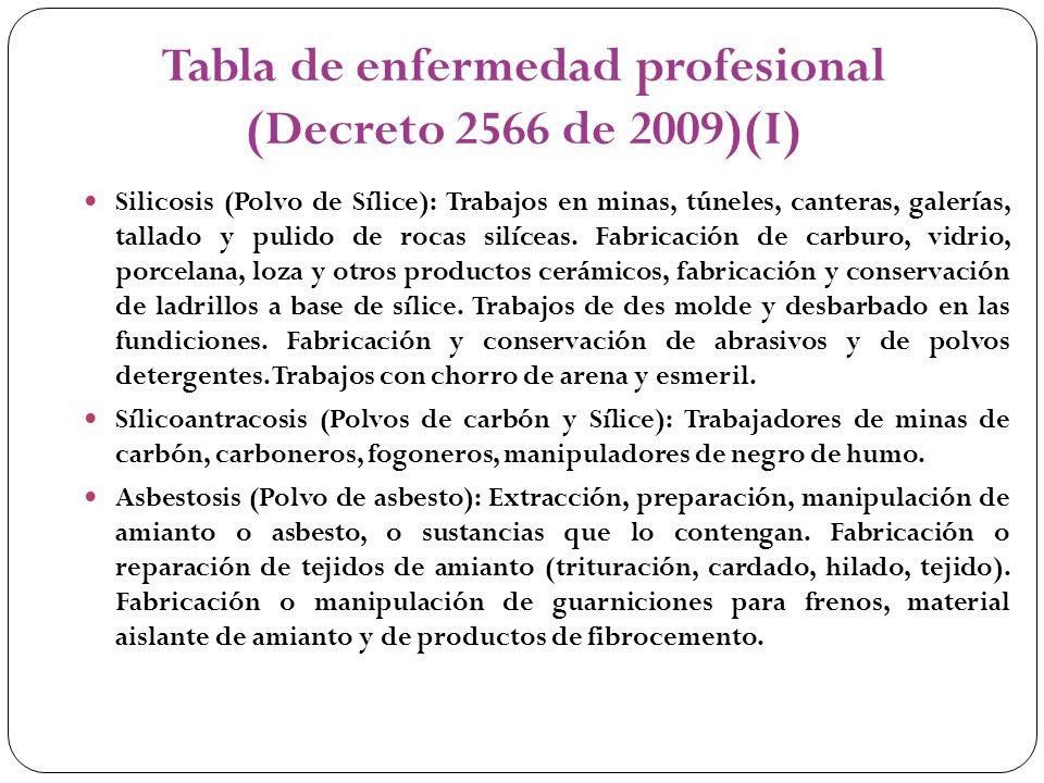 Tabla de enfermedad profesional (Decreto 2566 de 2009)(I)