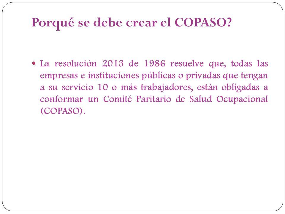 Porqué se debe crear el COPASO