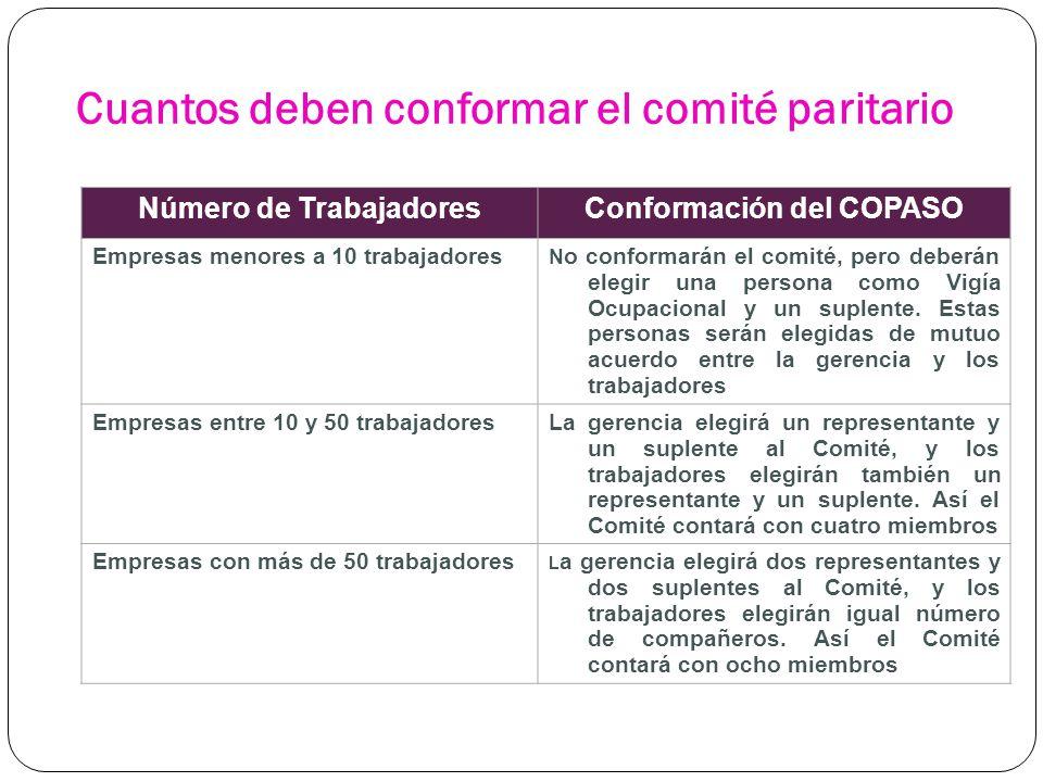 Cuantos deben conformar el comité paritario