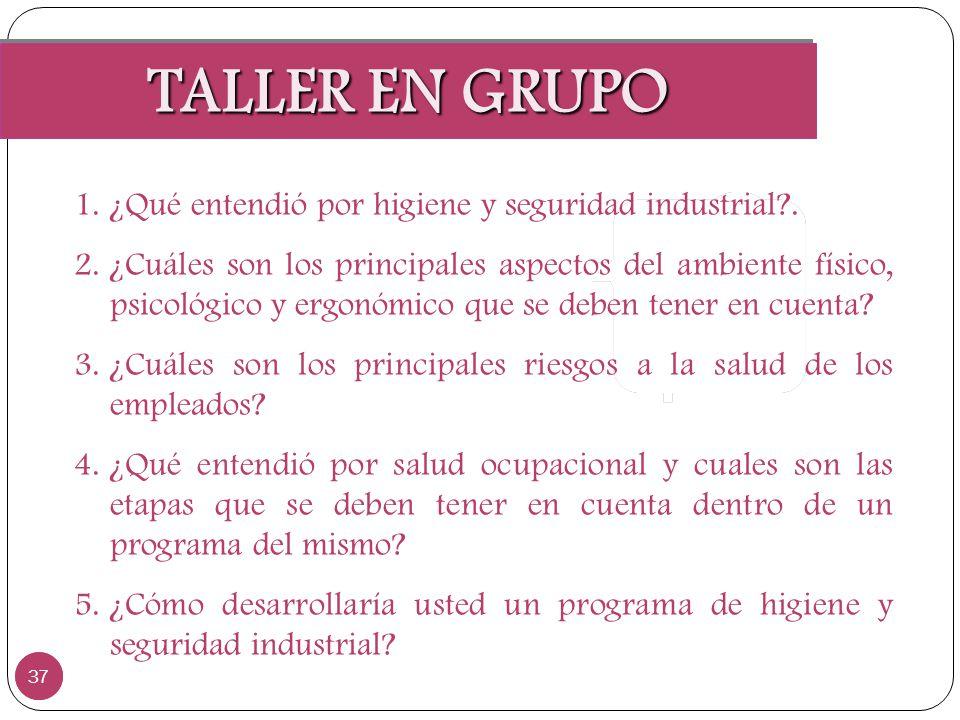TALLER EN GRUPO ¿Qué entendió por higiene y seguridad industrial .