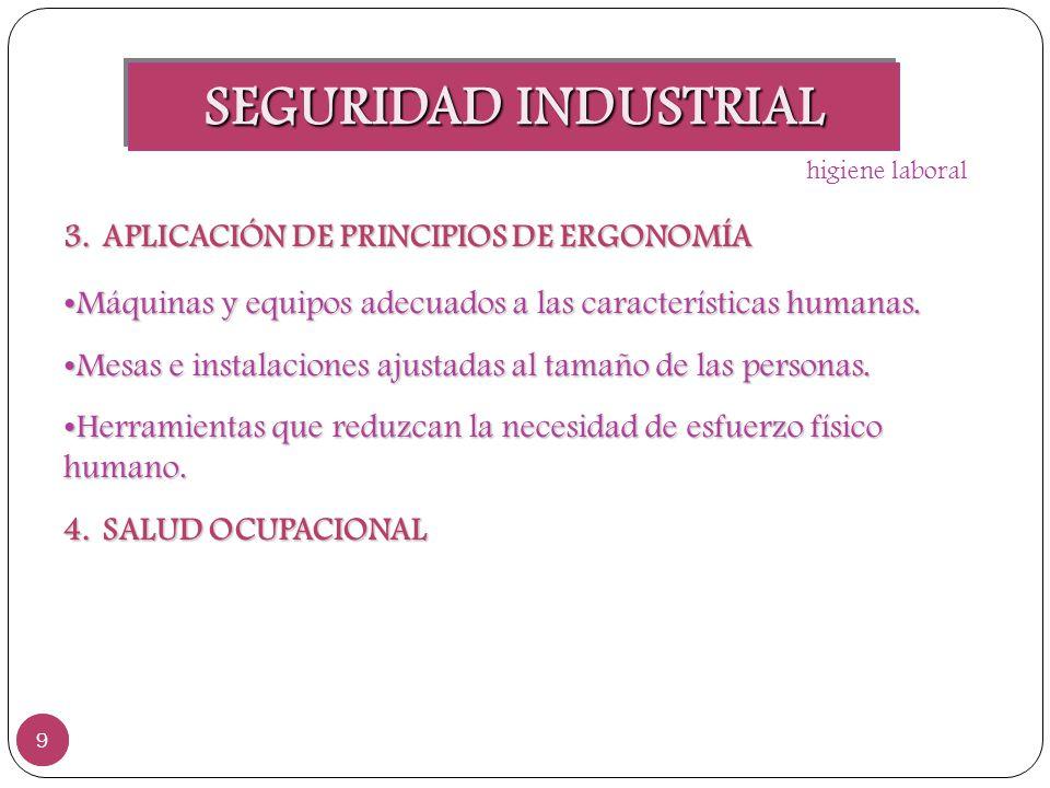 SEGURIDAD INDUSTRIAL APLICACIÓN DE PRINCIPIOS DE ERGONOMÍA