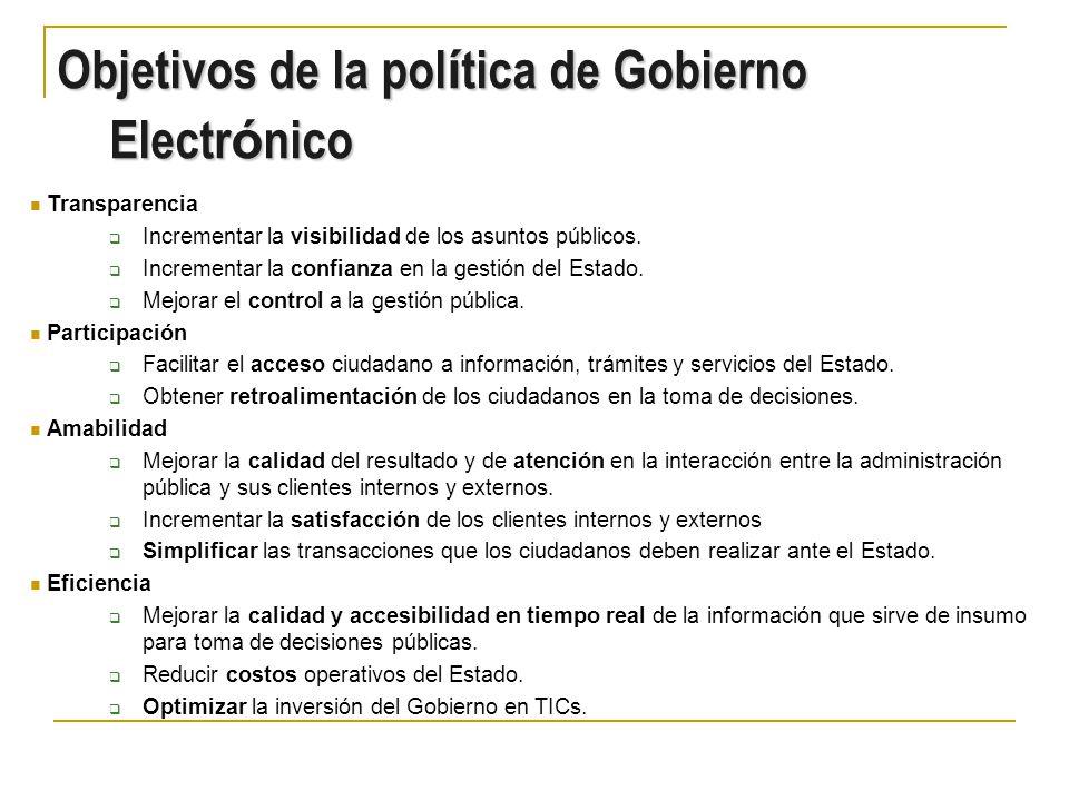 Objetivos de la política de Gobierno Electrónico