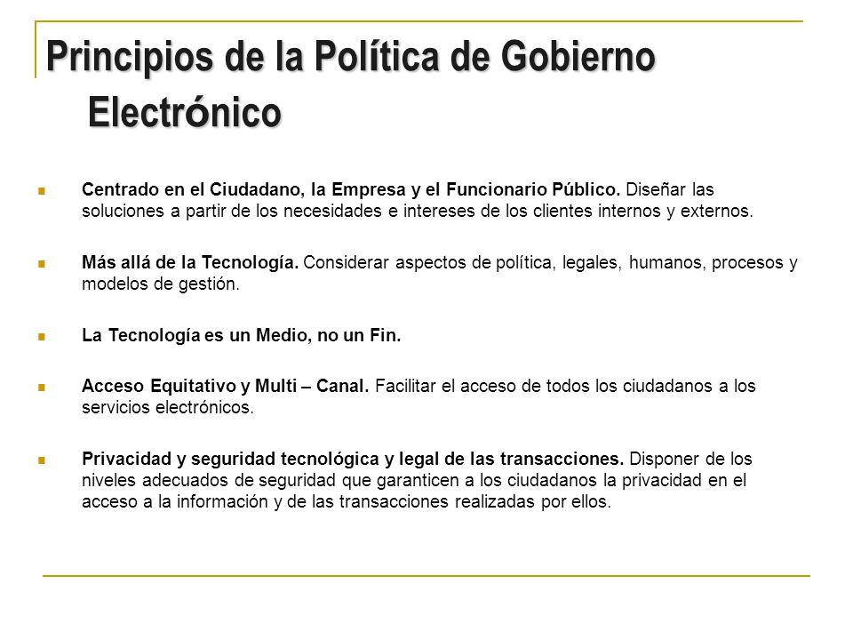Principios de la Política de Gobierno Electrónico