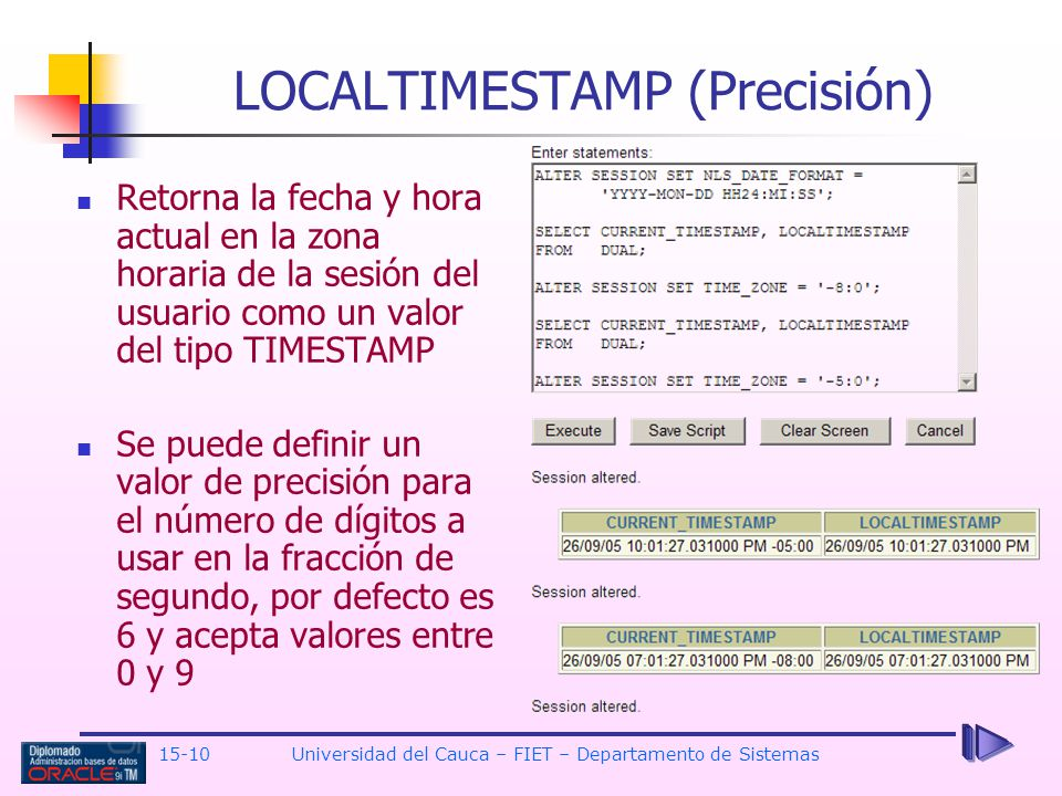 LOCALTIMESTAMP (Precisión)