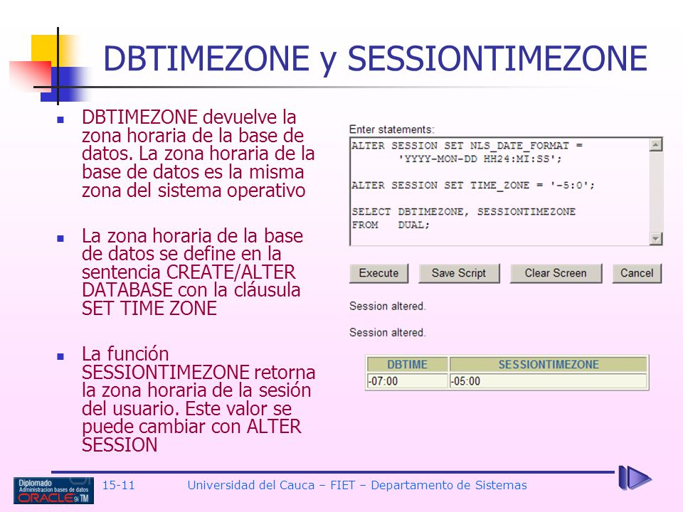 DBTIMEZONE y SESSIONTIMEZONE