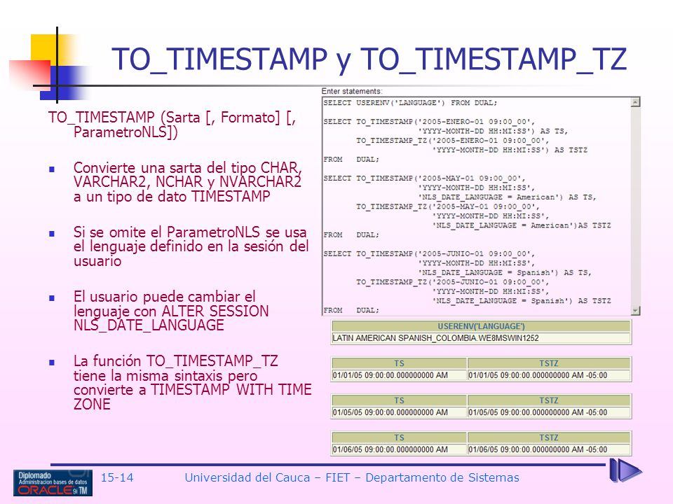 TO_TIMESTAMP y TO_TIMESTAMP_TZ