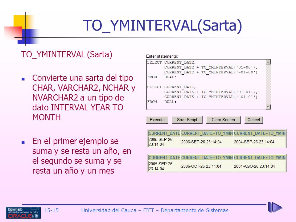 TO_YMINTERVAL(Sarta)