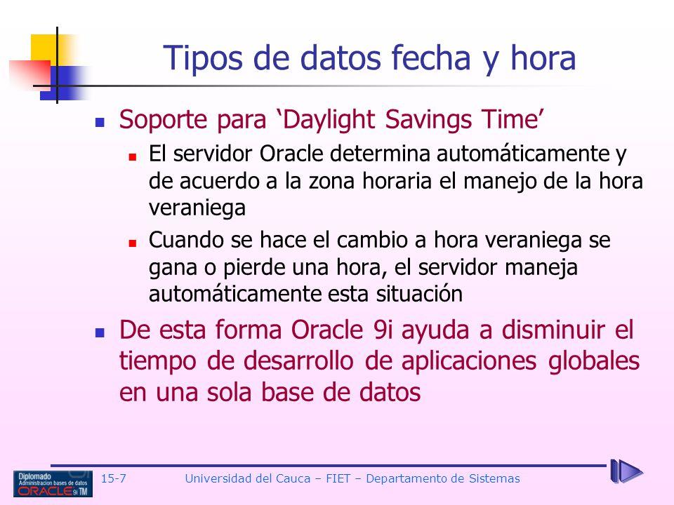 Tipos de datos fecha y hora