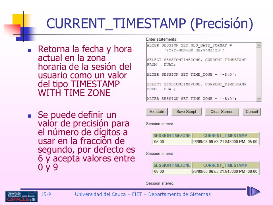 CURRENT_TIMESTAMP (Precisión)