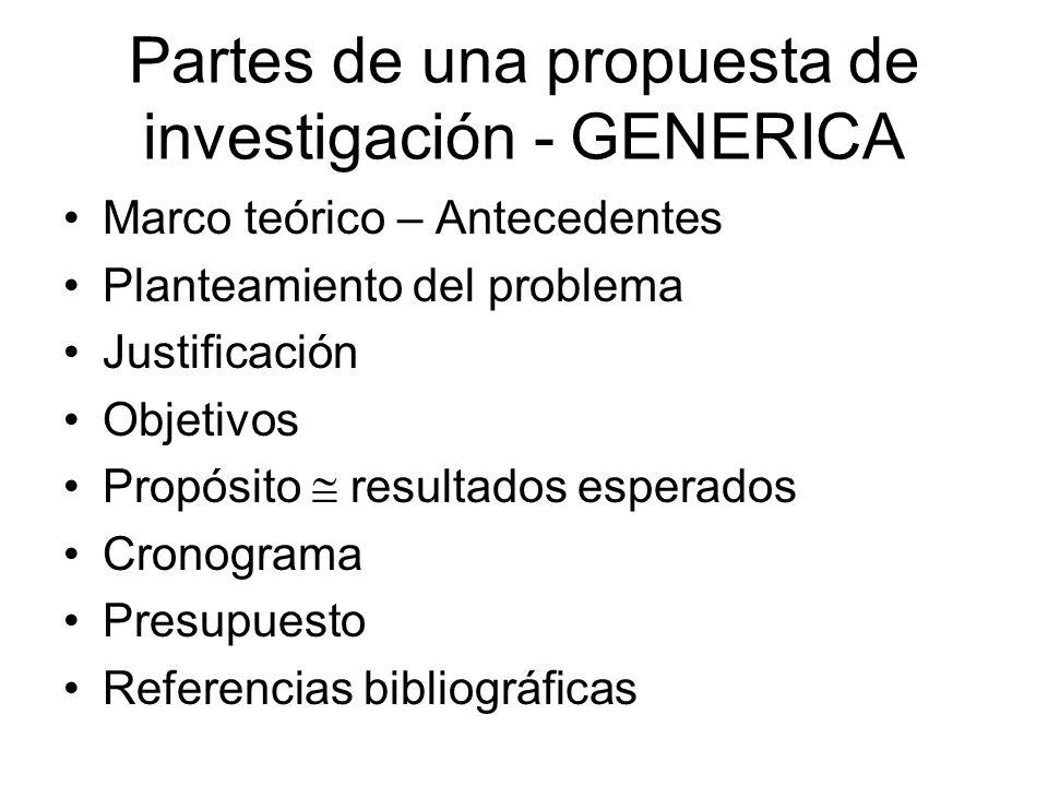Partes de una propuesta de investigación - GENERICA