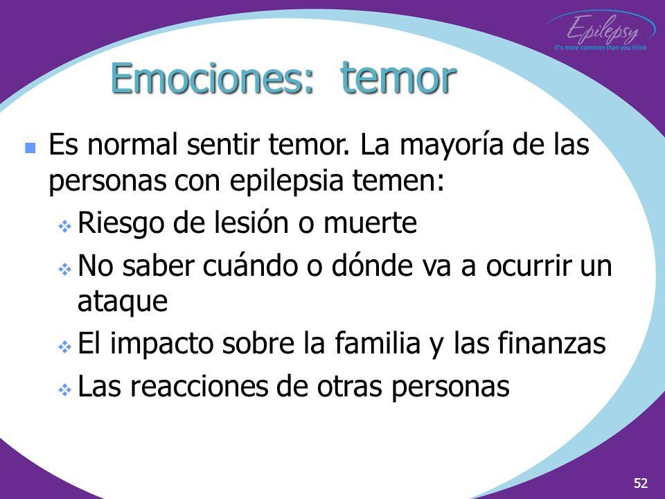 2002Emociones: temor. Es normal sentir temor. La mayoría de las personas con epilepsia temen: Riesgo de lesión o muerte.