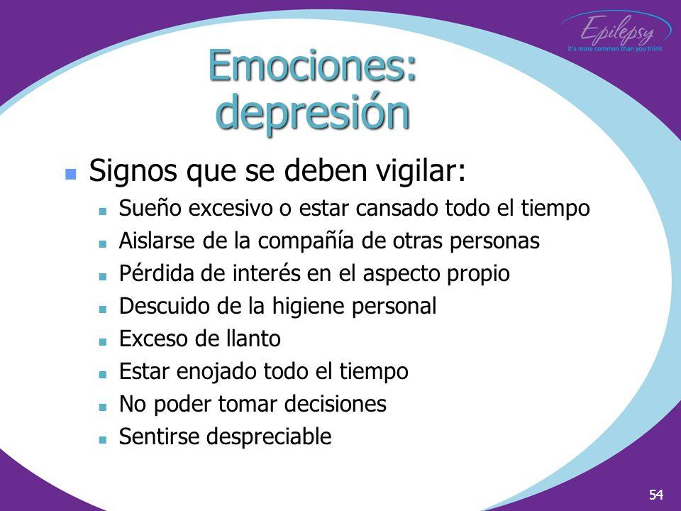 Emociones: depresión Signos que se deben vigilar: