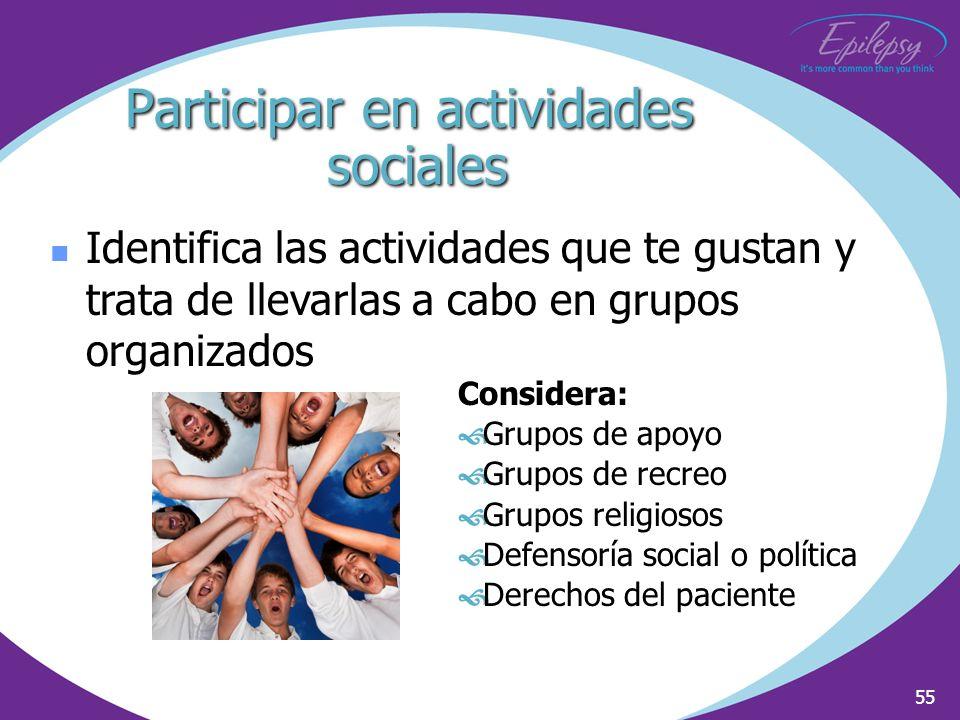 Participar en actividades sociales