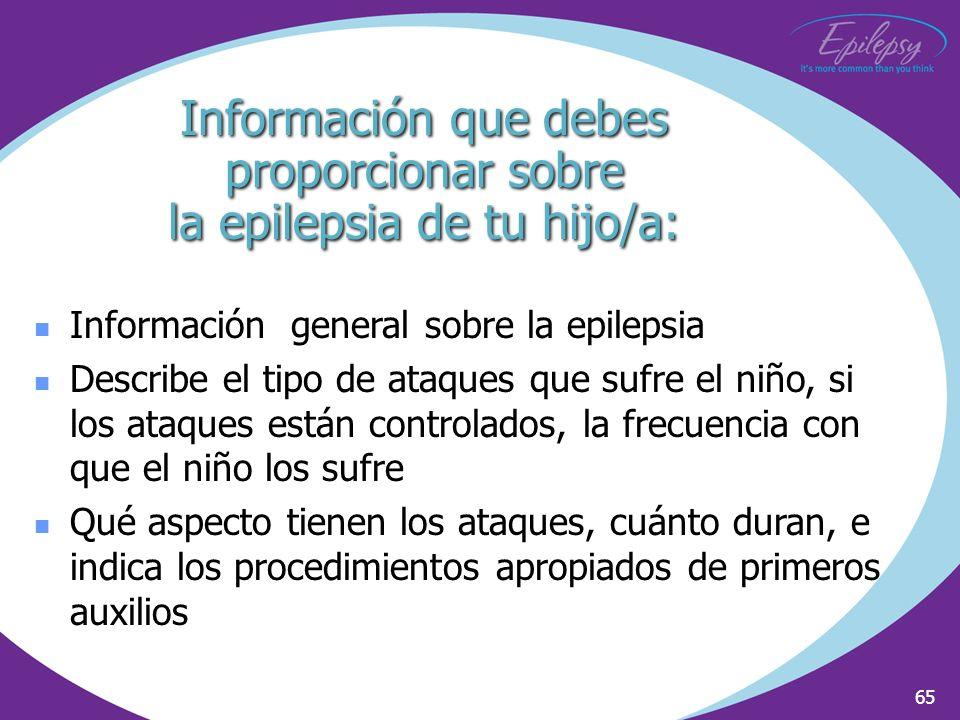 Información que debes proporcionar sobre la epilepsia de tu hijo/a: