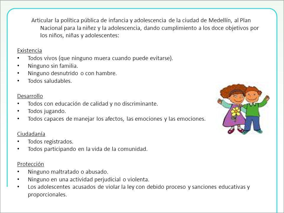 Articular la política pública de infancia y adolescencia de la ciudad de Medellín, al Plan Nacional para la niñez y la adolescencia, dando cumplimiento a los doce objetivos por los niños, niñas y adolescentes: