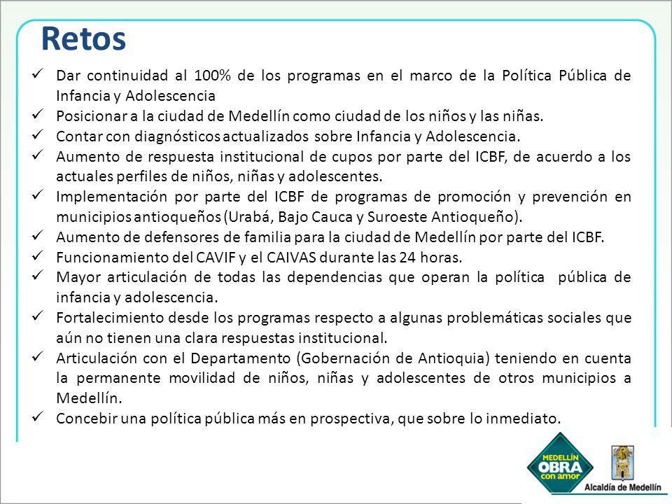 Retos Dar continuidad al 100% de los programas en el marco de la Política Pública de Infancia y Adolescencia.