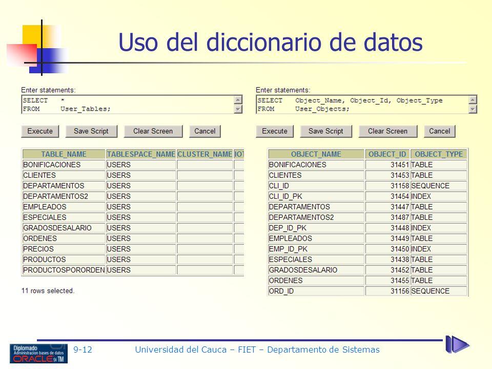 Uso del diccionario de datos