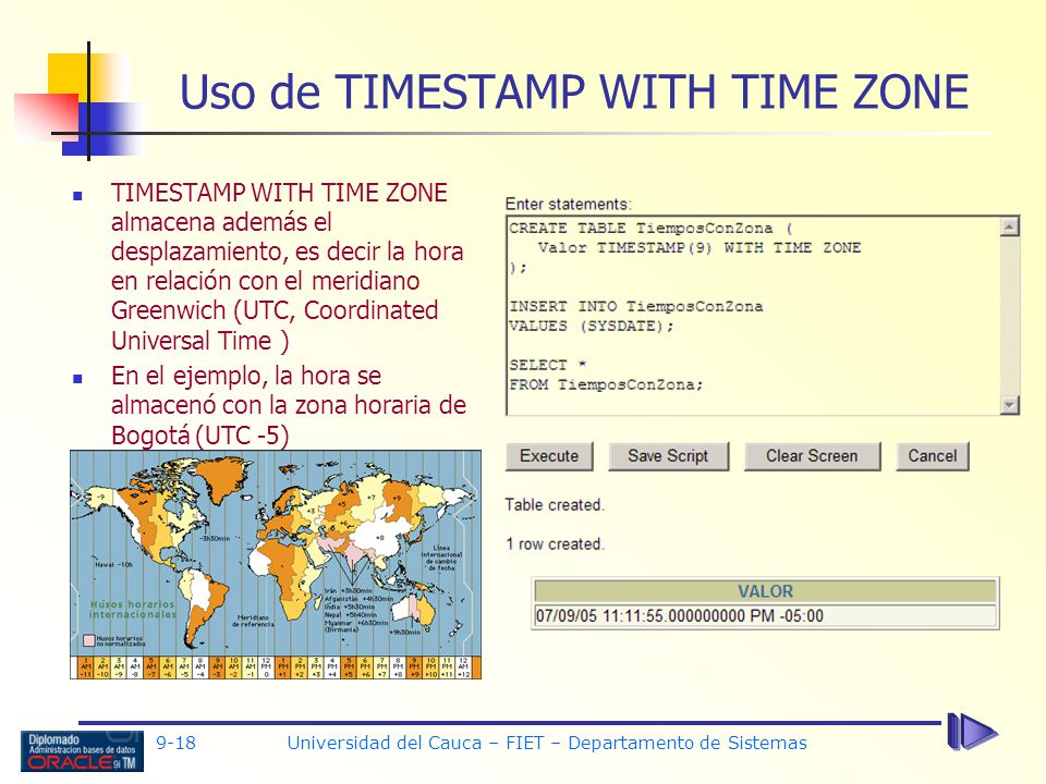 Uso de TIMESTAMP WITH TIME ZONE