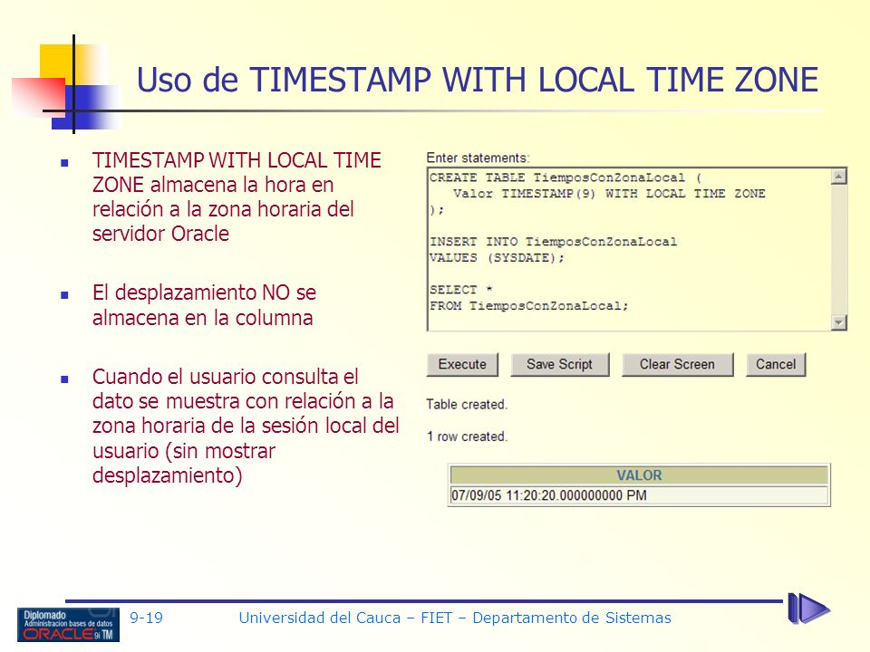 Uso de TIMESTAMP WITH LOCAL TIME ZONE
