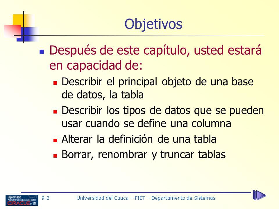 Universidad del Cauca – FIET – Departamento de Sistemas