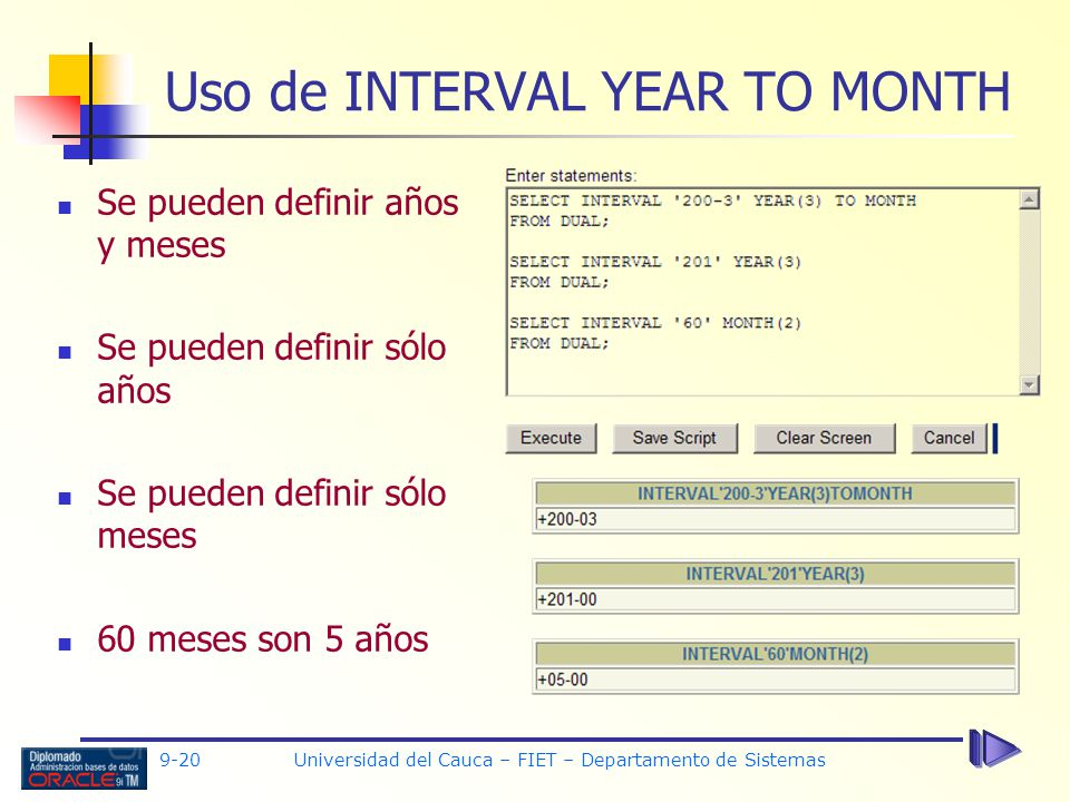 Uso de INTERVAL YEAR TO MONTH