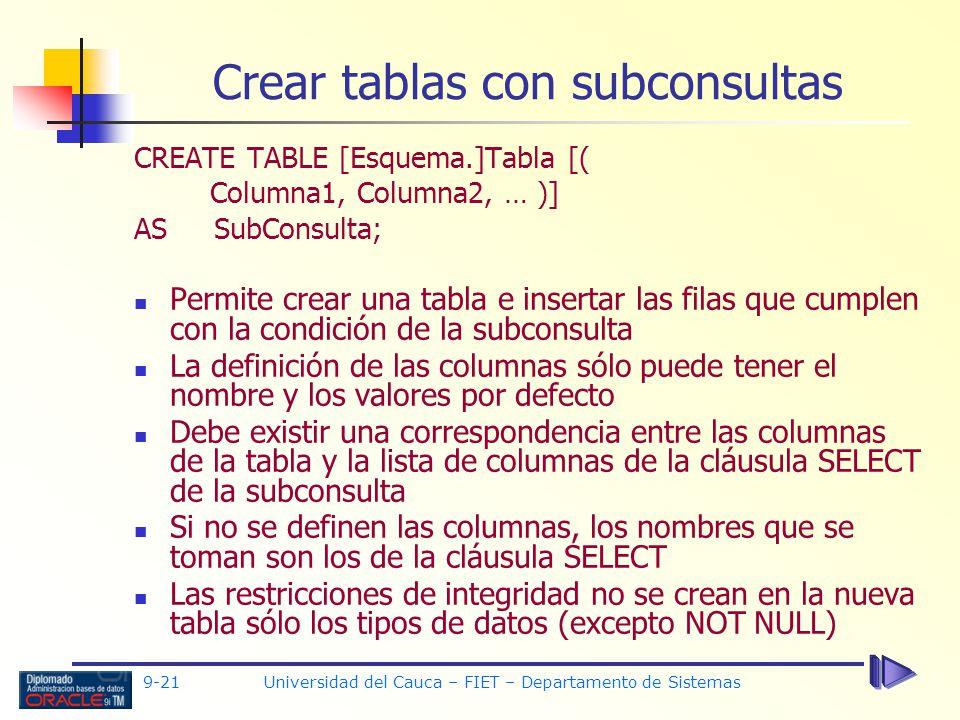 Crear tablas con subconsultas