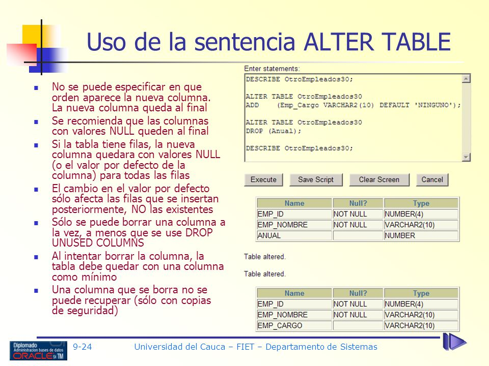 Uso de la sentencia ALTER TABLE