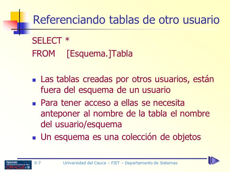 Referenciando tablas de otro usuario