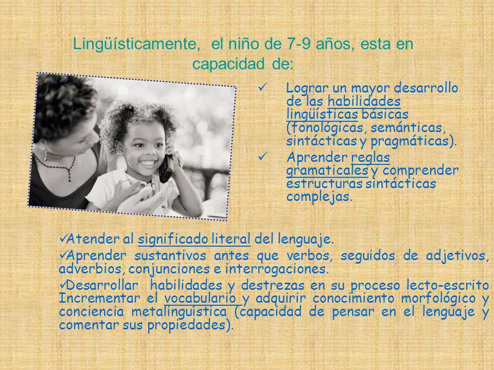 Lingüísticamente, el niño de 7-9 años, esta en capacidad de: