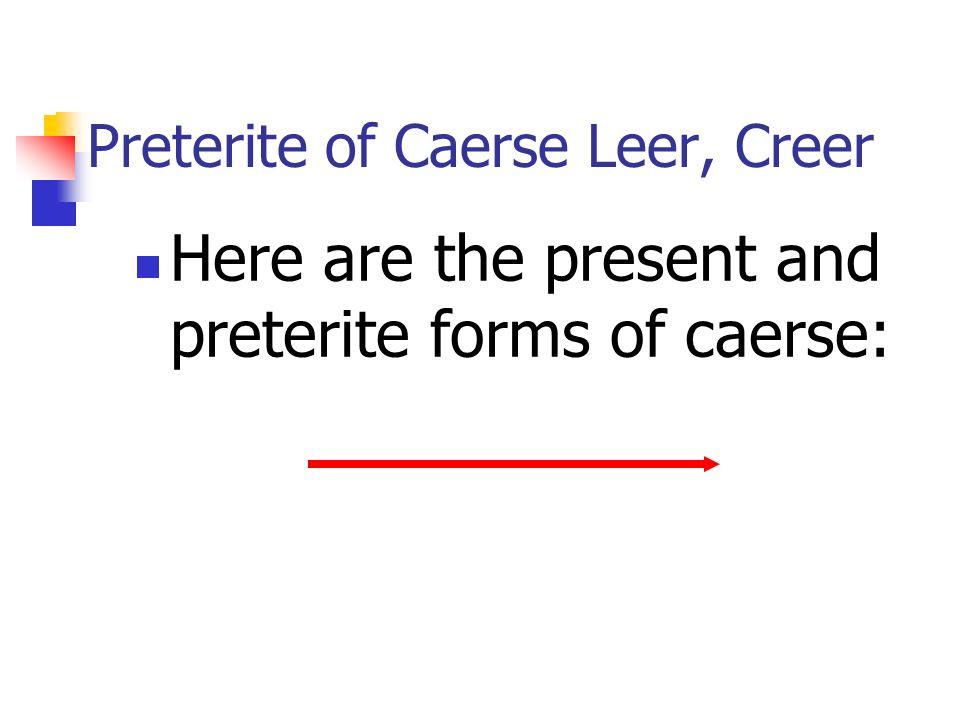 Preterite of Caerse Leer, Creer