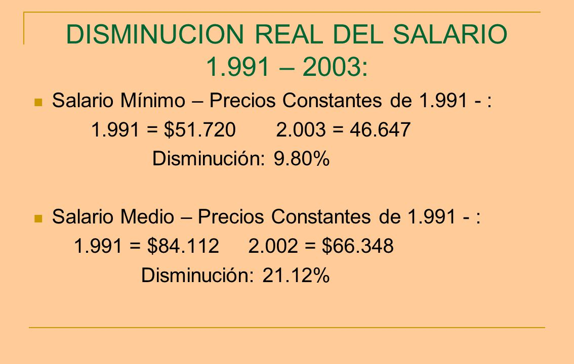 DISMINUCION REAL DEL SALARIO 1.991 – 2003: