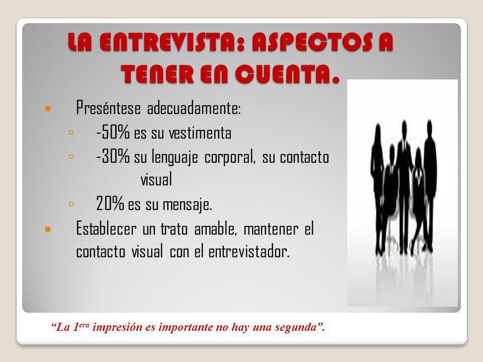 LA ENTREVISTA: ASPECTOS A TENER EN CUENTA.
